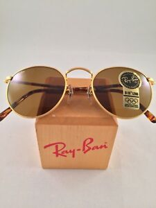 c0fd0f8fe0c Vintage Ray Ban Bausch And Lomb W2470 Round B15 brown Lens Gold ...