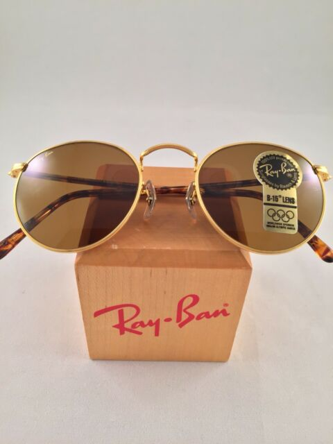 bdcb581d41 Vintage Ray Ban Bausch and Lomb W2470 Round B15 Brown Lens Gold Tortoise  47mm for sale online