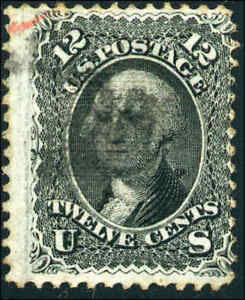 1868-US-97-A28-12c-Used-F-Grill-Stamp-Catalogue-Value-250