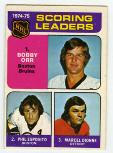 Bobby Orr 1975-76 O-PEE-CHEE Scoring Leaders card Phil Esposito Marcel Dionne