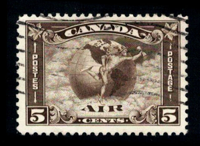 Canada Stamp - Air Mail C2 - Mercury, with scroll in hand (1930) 5¢ used C/V $26