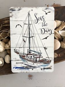 Image Is Loading Sailboat Metal Sign Nautical Decor Home