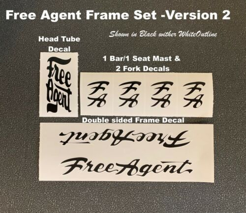 Replacement Decals Choose Color /& Style FREE AGENT Frame /& Fork Set