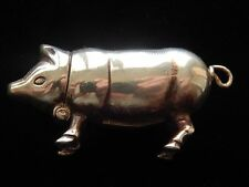 SOLID STERLING SILVER HALLMARKED PIG VESTA CASE MATCH HOLDER STRIKER TO BASE