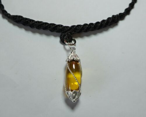 YELLOW Necklace Nok Phra Gow  Lucky Gems Naga Eye  Crystal Real Thai Amulet #A39