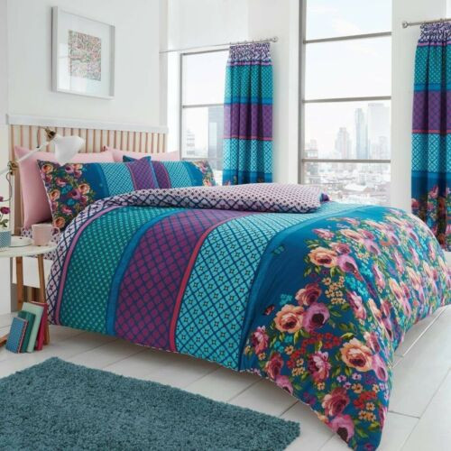 Saphira Teal Blush Pink Double Duvet Cover Bed Bedding Linen Quilt Cover Set New