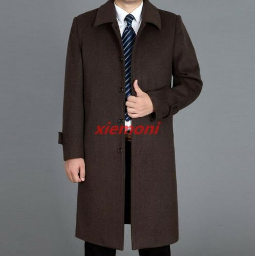 Mens Coats Mid-long Jacket Outwear Business Formal Dress Parka Loose Wool Blend