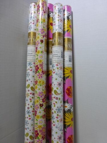 Gift Wrap Paper 30 in x 5 Ft Roll Pack of 8 w// Ribbon