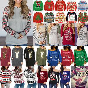 XMAS-Tops-Women-039-s-Ugly-Sweater-Jumper-Christmas-Hoodie-Pullover-Shirt-Blouse-US