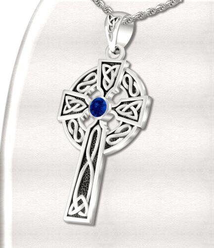 1.5in Men Sterling Silver Celtic Knot Cross Sapphire Birthstone Pendant Necklace