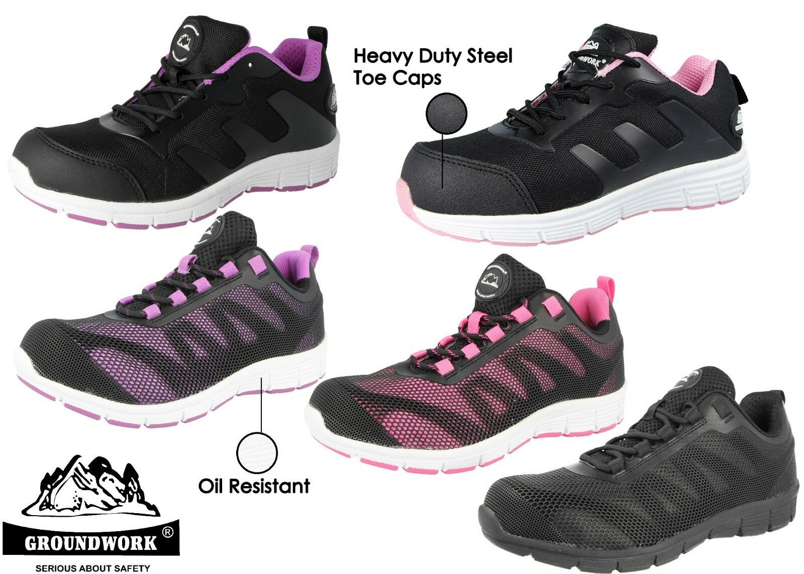 Ladies Groundwork Steel Toe Cap Safety Work Factory Shoes Trainers Boots Size