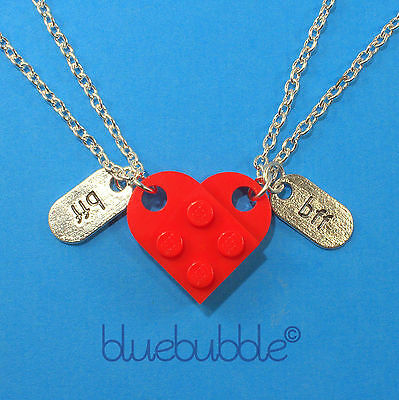 FUNKY LEGO HEART NECKLACE SET BFF BEST FRIENDS FOREVER GIFT CUTE SWEET VALENTINE