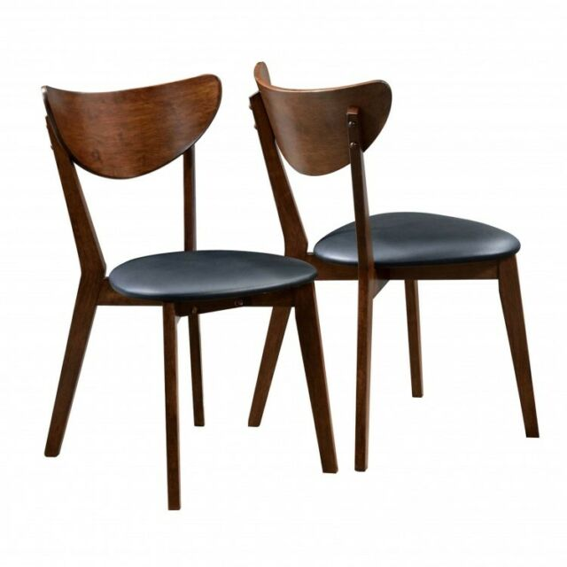 Retro Dining Chairs Set Of 2 Mid Century Modern Dark Wood Black Faux Leather