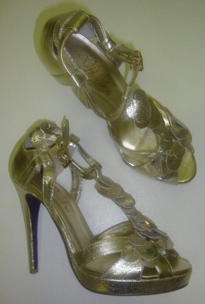 Bout ouvert Miss d'Hugo Femmes Bride escarpins talons High Heels 39 or NEUF