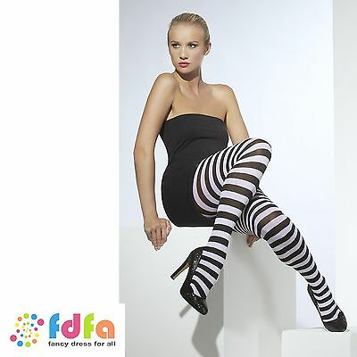 BLACK & WHITE OPAQUE STRIPED TIGHTS HALLOWEEN - 10-14 ladies fancy dress hosiery