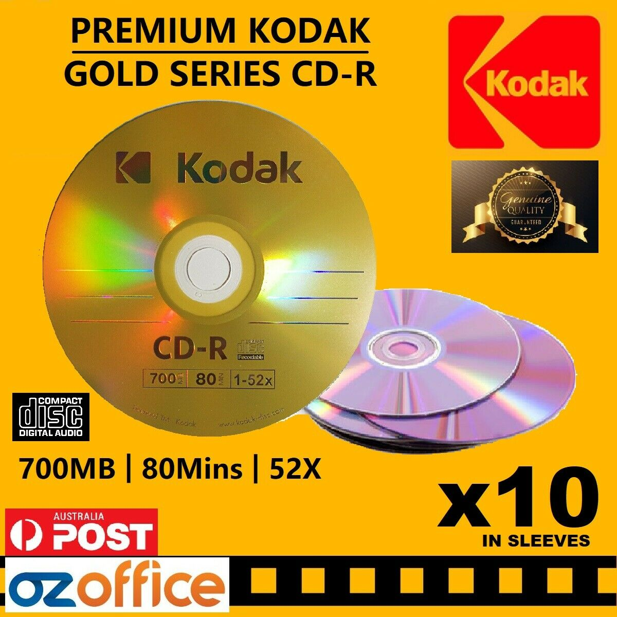 PREMIUM 100 x HP CD R Silver Series Blank CD-R Recordable Discs 52X 80Mins 700MB