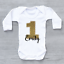 Personalised Gold Glitter 1st First Birthday Unisex Number 1 Baby Grow Bodysuit