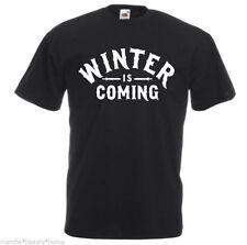 MEN'S winter is coming game of thrones loose fit t shirt black tv medium M