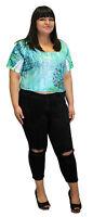 Blue Vintage Beach Crop Top Short Sleeve Round Neck Aqua Anime Mint Fashion