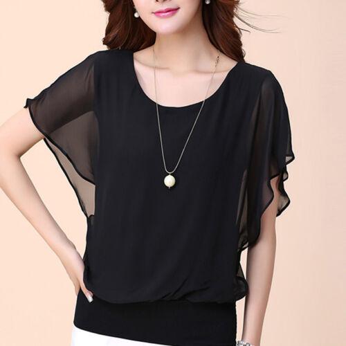 Damen Casual Rundhals Plus Size Kurzarm Chiffon T-Shirt Tops