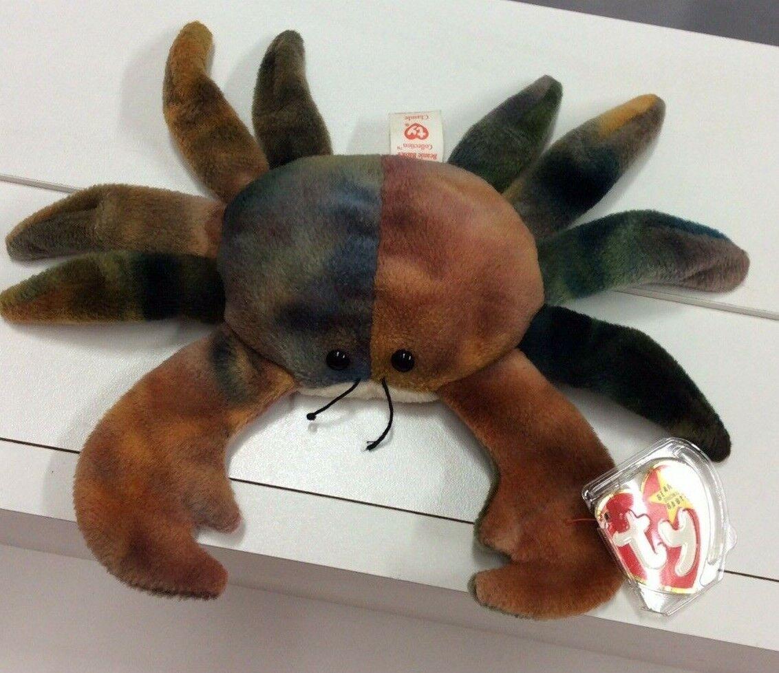 Sällsynta TY Beanie bebis pensionerade CLAUDE The Crab With All Caps Tag Felors