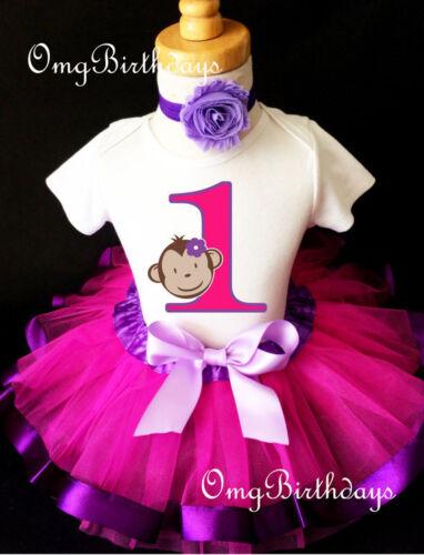 Monkey Face Mod Purple Hot Pink 1st Baby Birthday Shirt Tutu Outfit Set girl