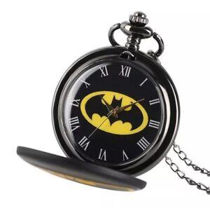 Batman-Enamel-Silver-Quartz-Movement-Pocket-Watch-With-Pendant-Necklace-Gift