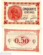 FRANCE CHAMBRE DE COMMERCE DE PARIS 50 CENTIMES  1920 BILLET DE NECESSITE