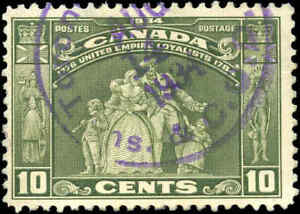 1934-Used-Canada-F-Scott-209-10c-Loyalists-Issue-Stamp