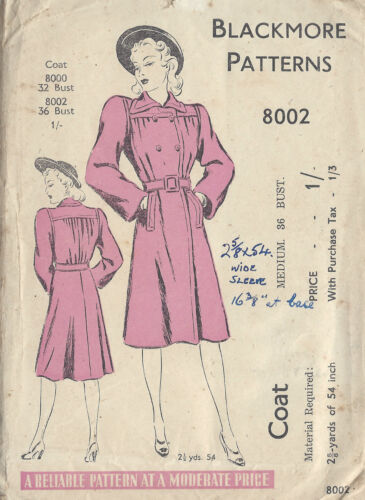 1940s WW2 Vintage Sewing Pattern Cappotto B36 1082
