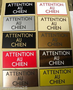 plaque gravée ATTENTION AUX CHIENS petit format 10 versions