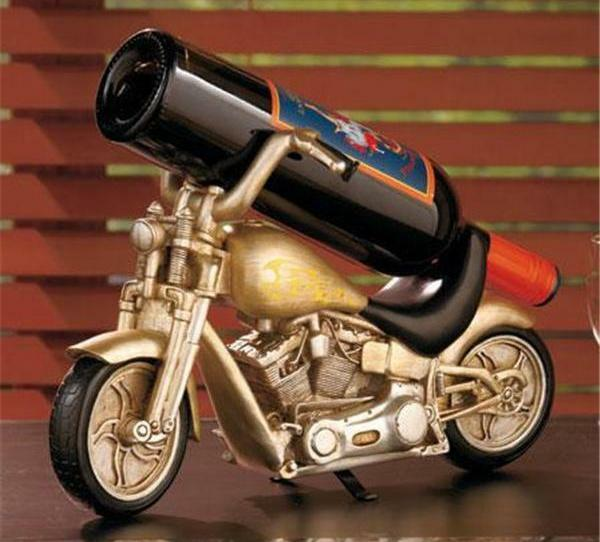 MOTORCYCLE BIKER COLLECTIBLE CERAMIC WINE BOTTLE HOLDER-REALLY UNIQUE GIFT IDEA!