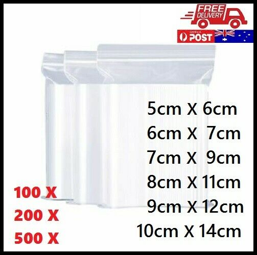 100-500pcs Zip Lock Plastic Bag Resealable Zipper Bags (Thick) AU FREE Shipping
