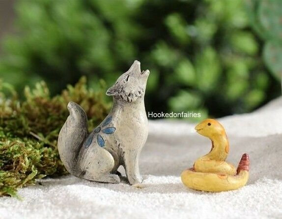 Dollhouse Miniature Snake and Wolf  Fairy Garden Faerie 706427