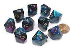 Chessex Dice Sets:Gemini Purple & Teal W/Gold-Ten Sided Die d10 Set 10 CHX 26249