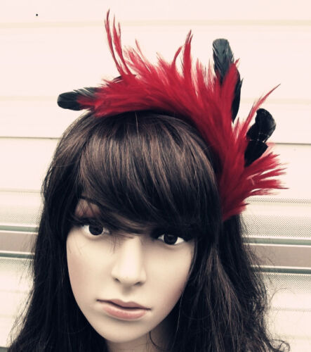 dark red black feather headband fascinator headpiece wedding party race ascot