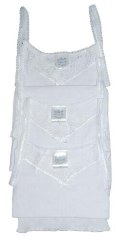 Three Pack Ladies White Cotton Spencer Cami Vest Sizes  14//16 18//20.