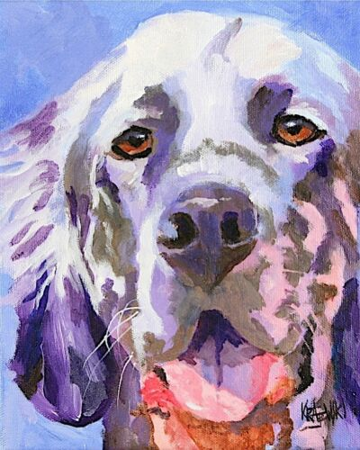 English Setter 8x10 Art Print Signed by Artist Ron Krajewski Painting