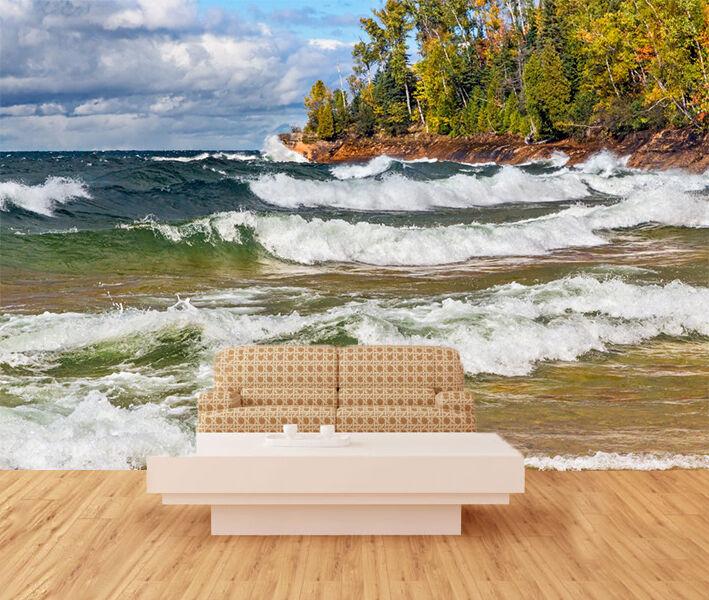 3D Waves islands tree Wall Paper wall Print Decal Wall Deco Indoor wall Mural