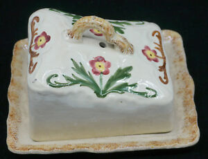OLD-HAND-PAINTED-SPONGEWARE-POTTERY-CHEESE-DISH-amp-COVER-STAFFORDSHIRE