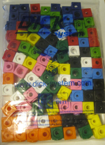 10 x 10 Farben = 100 Steckwürfel Dick-System 10 farbig Vorschule GP//Stück 0,13