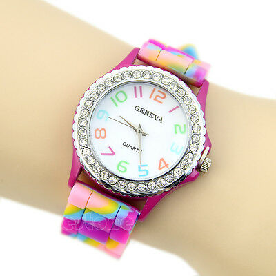Women Girl Multicolor Geneva Silicone Crystal Bling Fashion Designer Wrist Watch