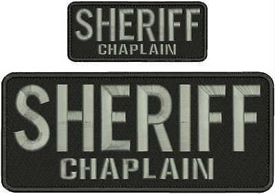 """POLICE CHAPLAIN Embroidery Patches 4 X 10/"""" and 2x5 Hook on back //gray"""