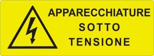 """2 TARGHETTE ADESIVE ISO 7010 /""""APPARECCHIATURE SOTTO TENSIONE/"""" SEGNALE PERICOLO"""