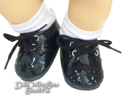 Black Patent Oxford Shoes fits Bitty Baby Boy Twin Doll Clothes MONIQUE/'S BRAND