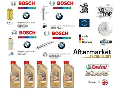Kit Filtri Tagliando BOSCH BMW 3 E90 320d 120 Kw + 5 Litri Olio Castrol 5W30