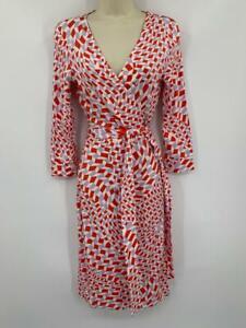 Diane Von Furstenberg New Julian Two Mosaic Ivory Wrap Dress Coral Purple Dvf M Strong Packing