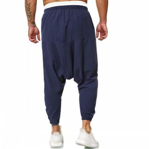 Men/'s Drop Entrejambe Harem Pantalon Baggy Coupe Ample Taille Élastique en Coton en lin neuf d