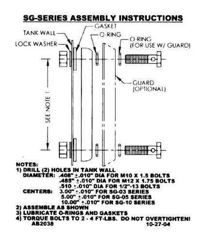 ZA SG-05-A-T-G 5/'/' Signt Gauge with Temp