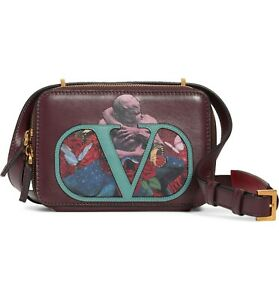 Valentino-VSling-U-Print-Calfskin-Burgundy-Rd-Bag-Handbag-Shoulder-Bag-Purse-NEW